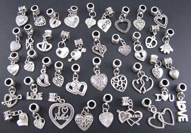 40X Tibetan Silver Charms Beads Heart Style Wholesale Fit European Bracelet A+++
