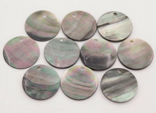 10PCS 20mm Shell Natural Luster Black Round Mother of Pearl Jewelry Making DIY
