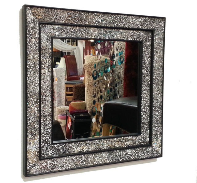 Crackle Glass Mosaic Wall Mirror Square Black Double Frame Handmade ...