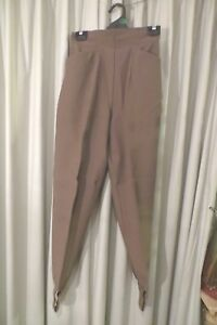 VINTAGE-COUNTRY-ROAD-Beige-Wool-Blend-Stirrup-PANTS-Size-8-High-Waist