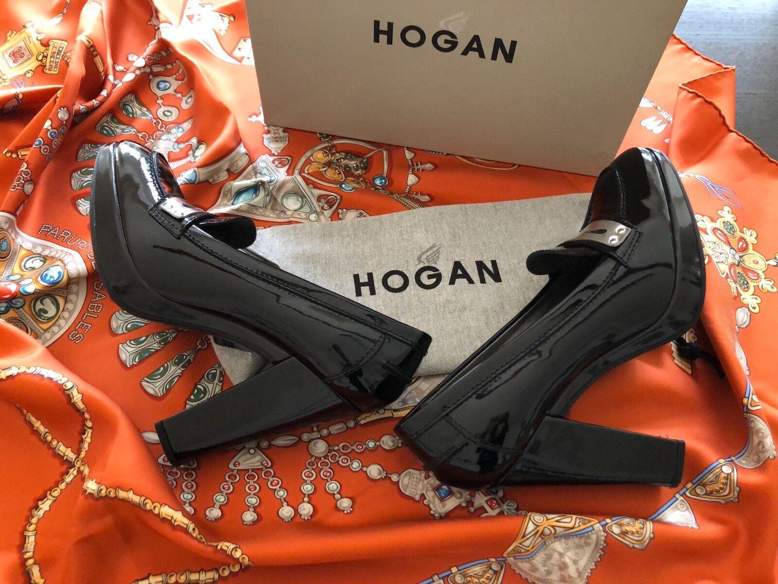 HOGAN 39,5  High Heels Plateau PUMPS Lack Leder Gr. 39,5 HOGAN College-Stil  wie neu 18f864