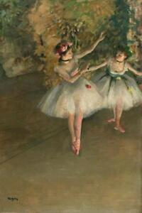 Edgar-Degas-Two-Dancers-On-The-Stage-Ballerina-Art-Print-Poster-24x36-inch