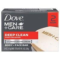 Dove Men Care Body And Face Bar Deep Clean 4oz 2 Bar Each on sale
