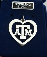 Sterling Silver 21x21mm Texas A&m University Atm Cut Out Heart Aggie Charm