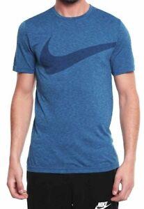 45cd557a Nike Mens Breathe Dri-Fit Swoosh Logo T shirt Tee Top Blue 933416 ...