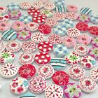New 100Pcs 2 Holes Mixed Printing Round Pattern Wood Buttons Scrapbooking 15mm
