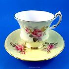 Pink with Gold Rose on Pale Yellow Paragon Tea Cup and Saucer Set
