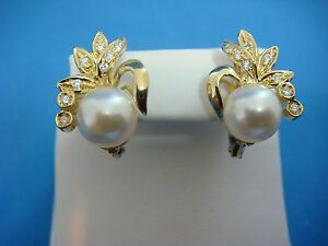 !SPECTACULAR 18K YELLOW GOLD PEARL AND DIAMONDS SAFETY BACKS EARRINGS, 5.9 GRAMS