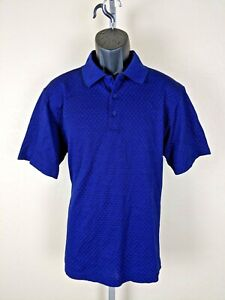 Bugatchi-Uomo-Navy-Short-Sleeve-Men-s-Polo-Shirt-Size-Medium-100-Cotton