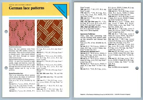 1979 Odhams Knitting collection instruction Carte German Lace Patterns-Stitch