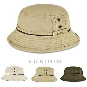 5835b38776aaa Vintage Bucket Hat Mens Solid Cotton Fisherman Hat Hunting Hiking ...