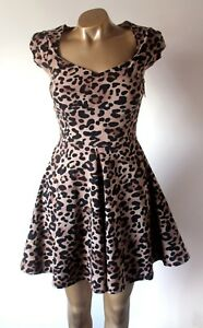 Details About Amy Childs Dress Size 10 Black Brown Leopard Print Skater Stretch Flawless