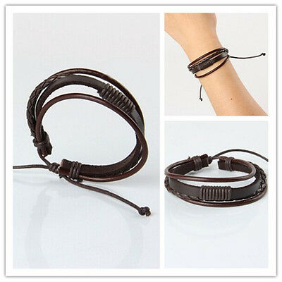 Hot Men Fashion Punk Handmade Brown Leather Surfer Braided Wristband Bracelet