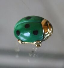 vintage :* TRIFARI TINY GREEN LADY BUG PIN w/GOLD PIPING:* X Condition