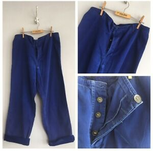 Vintage-Blue-Cotton-Chore-Workwear-Trousers-Pants-W36-L-Hole-Fade-Darning