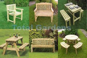 Athol Garden Furniture Chunky Wooden Bench A Frame Pub Bench Round Picnic Bench Ebay