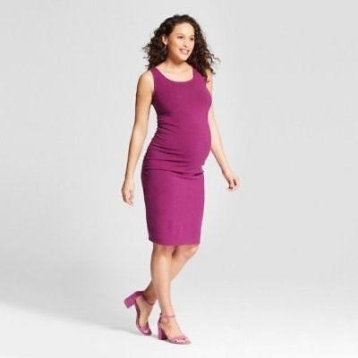 Berry Heather Purple XS-2XL #m206 Isabel Maternity Shirred Side Tank Dress