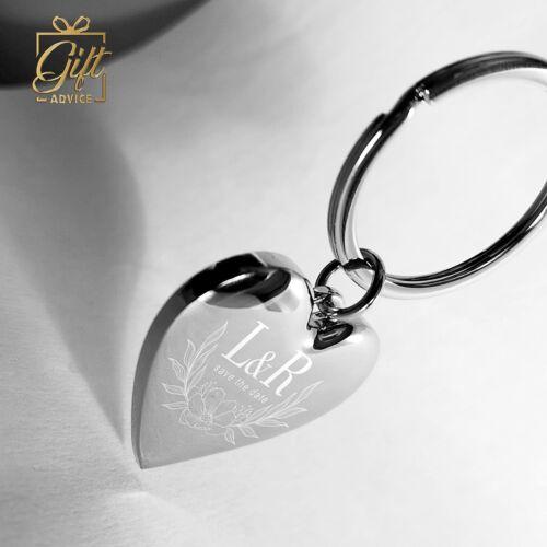 Customize Heart Shape Keyring Keychain Engraved Personalised Gift Valentine/'sday