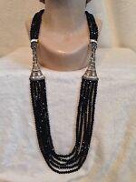 Heidi Daus Black Bead Master Clasp Necklace- Very Versatile