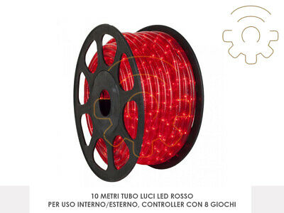 Tubo luminoso a led di natale rosso 10 mt 8 giochi luci for Luci a tubo led