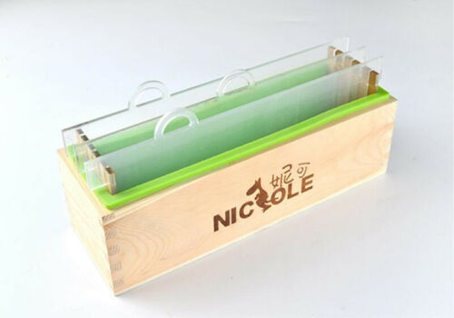 Loaf Silicone Soap Mold Wooden Box Vertical Rendering With Separator DIY Tools