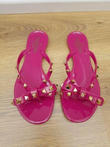 Sandals Valentino Eu36 Rockstud Flipflop Fuscia Pink New
