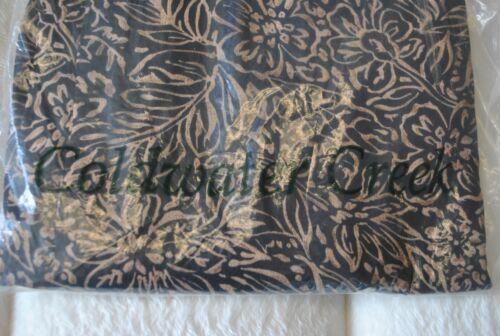 NWT Coldwater Creek Batik Leaf Print Pant Black /& Tan Career Wide Leg Trousers