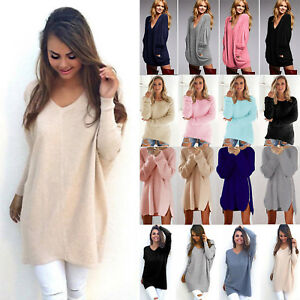 Damen-Winter-Pullover-pulli-Strick-Bluse-Tunika-Strickpullover-Sweater-Minikleid