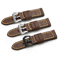 24mm Genuine Croco Leather Watch Band Handmade Tang Buckle Strap For Panerai