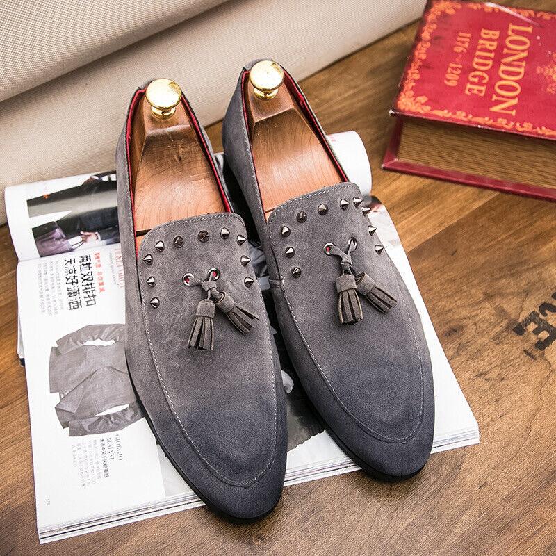 3f9a9b9dae1 Men Tassels Rivet Decor Pointy Toe Faux Suede Slip On Loafers Dress Formal  shoes