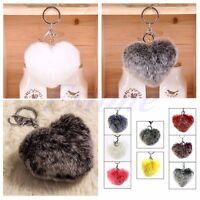 1pc Fashion Rex Rabbit Fur Car Keychain Phone Charm Bag Key Ring Heart Soft Ball