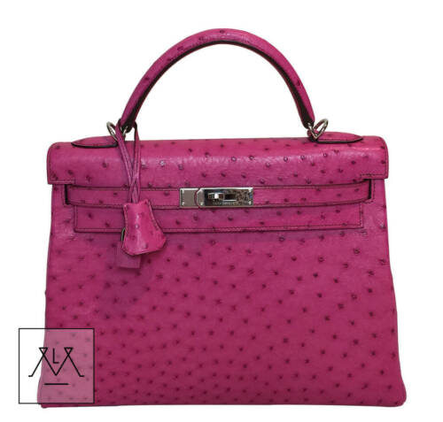 Bolsa Rosa Fucsia Phw 32cm Avestruz Kelly Hermes X5qx1wIY