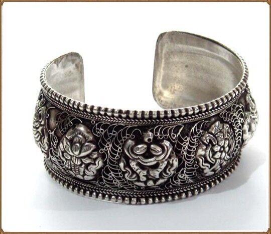 Huge Vintage Tibetan Filigree Delicate Carved 8 Auspicious Symbol Cuff Bracelet