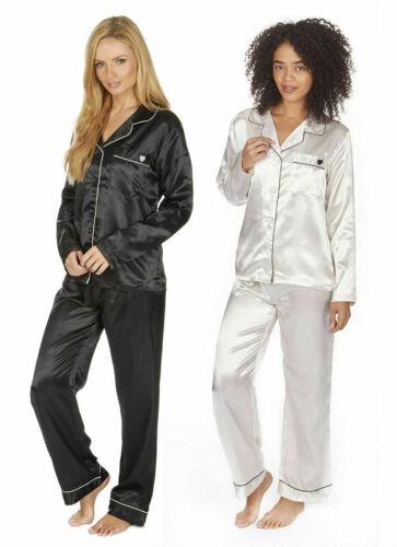 Women/'s Ladies Luxury Plain Satin Pyjama PJ Set Buttoned Top Bottoms Nightwear