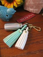 Merona White, Silver, Mint Triple Leather Jumbo Tassel Keychain Purse Charm