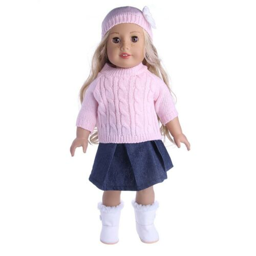 "3x 18/"" Girl Doll Clothes Accessory Suit Set Hat Sweater Skirt for 18inch Dolls❤❤"