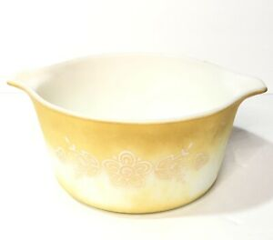 Vintage Pyrex 2 1/2 Quart Butterfly Gold Round Casserole Dishes Bowls 475 B 473