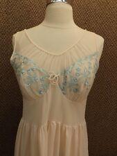 Lovely Vtg 1950s KAYSER Pink & Aqua PRINCESS WAIST NYLON NIGHTGOWN 34 Peek-a-boo