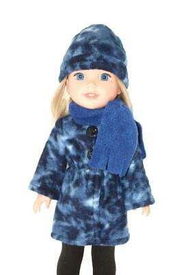 """Long Jacket hat scarf fits 14/"""" Wellie Wishers Doll Clothes by TKCT Blue Marble"""