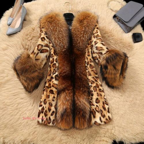 Womens Lady Winter Warm Luxury Faux Fur Jacket Coat Long Parka Overcoat Outwear