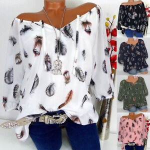 Womens-V-Neck-Feather-Loose-Tops-Ladies-Off-Shoulder-Casual-Shirt-Blouse-T-Shirt
