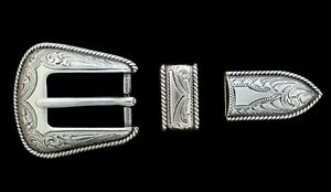"Western Tack Bridle/Halter Buckle Sets (2) Silver Rope Border For 1"" Leather"