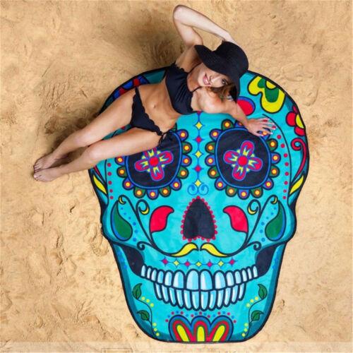 Sugar Skull Thin Picnic Beach Towel Bohemian Round Hippie Tapestry Throw  PQ