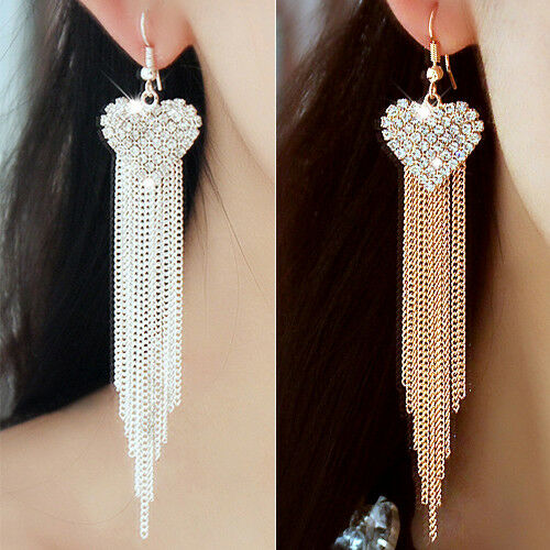 HK- Women's Love Party Long Tassels Rhinestone Hook Dangle Linear Earrings Cheap Earrings