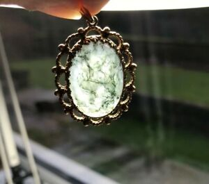 Vintage-9ct-Yellow-Gold-amp-Moss-Agate-Pendant