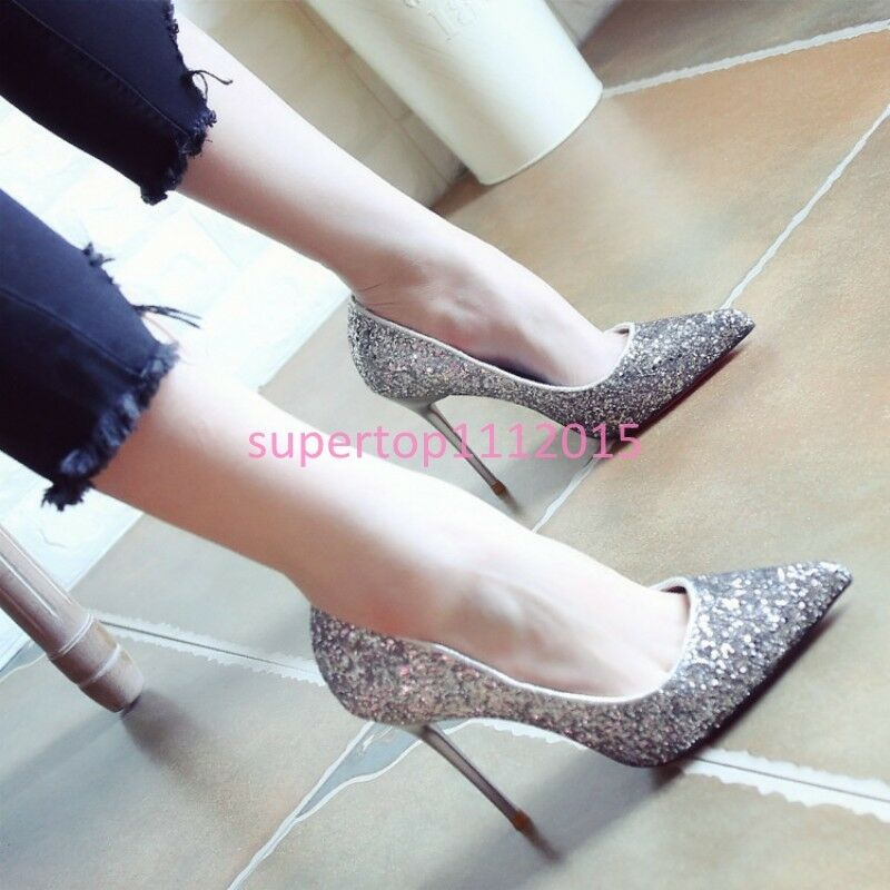 Women's Pointy Toe Shallow Mouth Stilettos Sequins Fashion Sexy OL Party Shoes