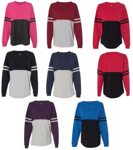 LADIES COTTON JERSEY STYLE T-SHIRT, ROOMY FIT, ROUND NECK, SLEEVE STRIPES, S-2XL