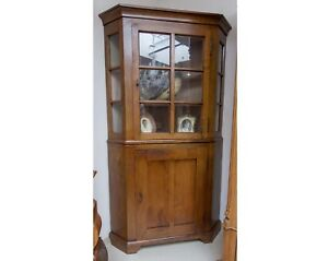 kirschholz vitrine antik antiquit t massiv holz eckvitrine vitrinen schrank ebay. Black Bedroom Furniture Sets. Home Design Ideas