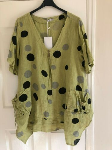 Ladies Plus Size LINEN Spotted V-Neck Lagenlook Polka Dot Pocket Tunic Top 50/""