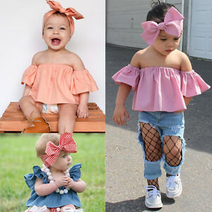 5572c60ce Newborn Kids Baby Girl Clothes Off Shoulder Tops+Headband Stylish ...